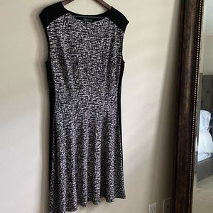 Black and White Fit and Flare Ralph Lauren Dress
